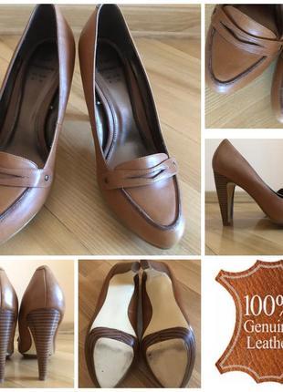 Новые рыжие кожаные туфли f&f signature 39 25-25,5 см