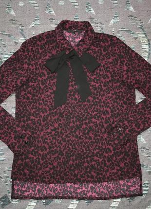 Рубашка, леопардовый принт, блузка со съёмным чёрным бантом