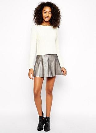 Шикарная юбка с эко кожи цвета металлик