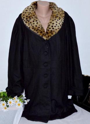 Брендовое демисезонное пальто с карманами inspire new look шерсть мех большой размер