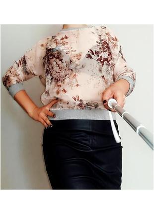 Next блуза - джемпер в цветочный принт на 14-16 размер