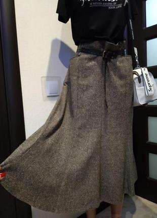 Отличная стильная базовая новая юбка годэ из натуральной шерсти