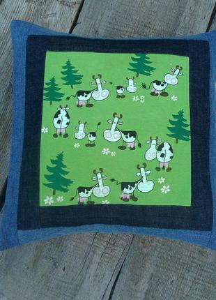 Hand made подушка для малыша коровки джинс