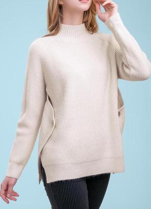 Женский однотонный теплый свободный плотный бежевый свитер под горло (s-xl) (1400 svtt)