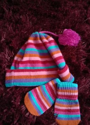 Яркая шапочка и царапки рукавички акрил на рост62-68 2-6 мес