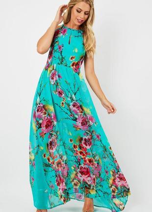Шикарне нове плаття максі blue vanilla з яскравим принтом
