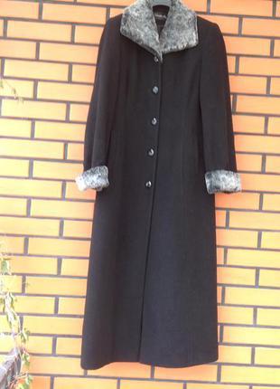 Длинное чёрное осенне пальто 70/ шерсть. l- xl/