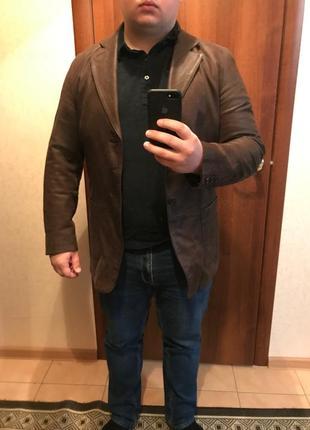 Піджак коричневий шкіряний mr. blue