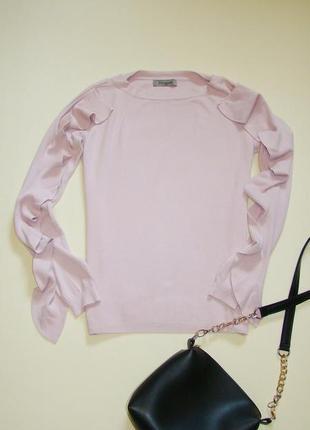 Пудровый джемпер свитер piomini на высокую девушку с воланами s/m