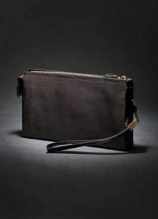 Кожаный мужской стильный респектабельный функциональный клатч барсетка черный