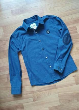 Шикарная синяя рубашка в точечку