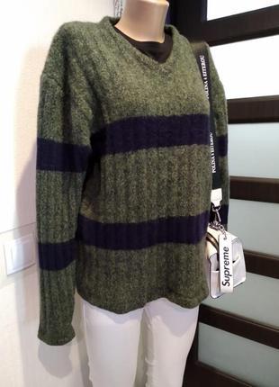 Стильный брэндовый теплый джемпер свитер пуловер из натуральной шерсти