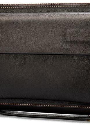 Мужской коричневый стильный удобный функциональный клатч натуральная кожа