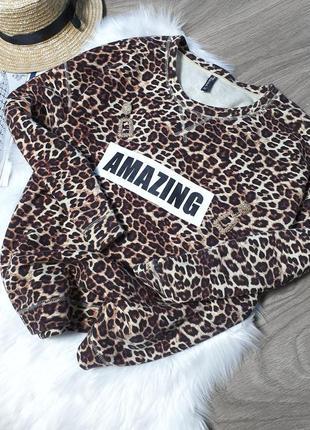 Стильный свитшот в леопардовый принт
