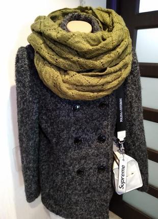 Отличный стильный теплый мягкий снуд шарф палантин ажурный хаки