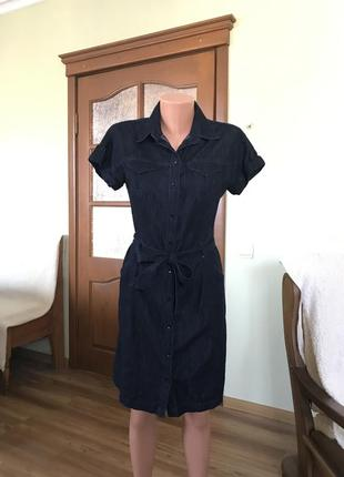 Джинсовое платье- сафари