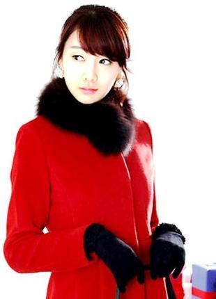 Красная шерстяная курточка \пиджак с мехом