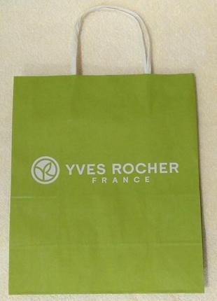 Пакет бумажный зеленый ив роше yves rocher