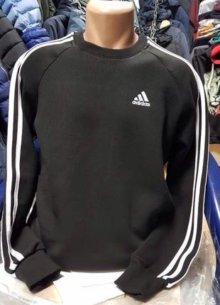 Свитшот adidas на флисе чёрный реглан адидас худи с начёсом
