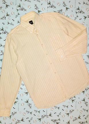 Акция 1+1=3 фирменная нежно-желтая рубашка из хлопка hugo boss, размер 52 - 54