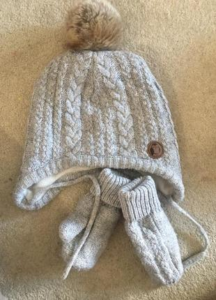 Зимний комплект шапка с варежками h&m