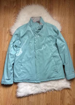 Бирюзовая лакированная стёганая куртка esprit,лаковая тёплая дутая оверсайз куртка
