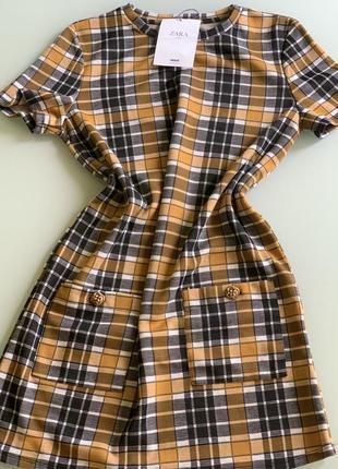 Платье из вискозы в клетку тренд must have zara