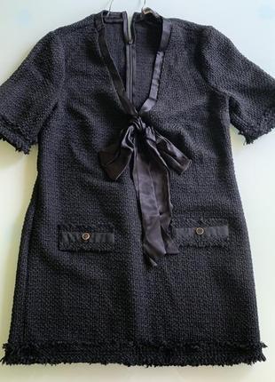 Твидовое платье с шелковым бантом zara