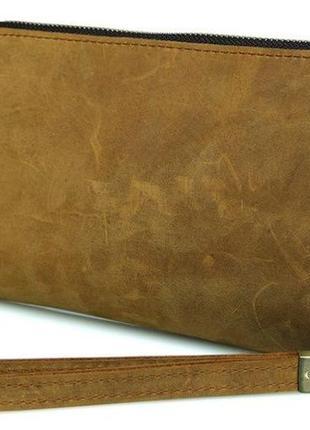 Винтажный кэжуал клатч мужской кожаный функциональный светло-коричневый рыжий