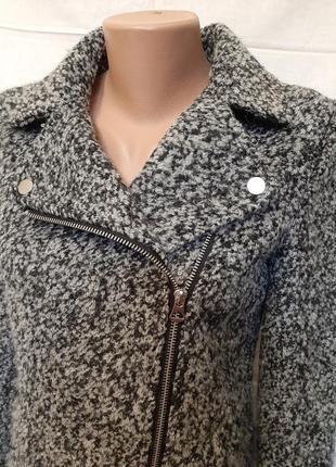 Теплая шерстяная куртка ка косуха удлинненная  h&m