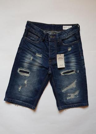 Новые джинсовые шорты denim co,стильные джинсовые шорты с рваностями,рваные синие шорты