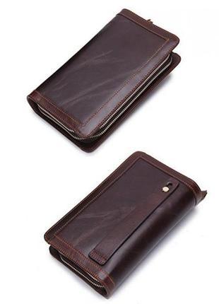 Стильный мужской клатч компактная барсетка натуральная кожа коричневый