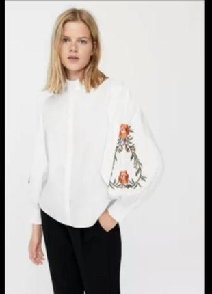 Хлопковая блуза рубашка с вышивкой оверсайз