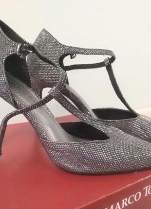 Туфли с т-ремешком и люрексом