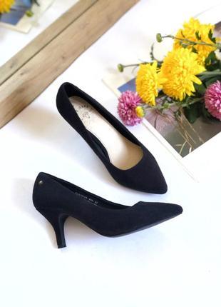 Чёрные туфли лодочки на каблуке pepe jeans