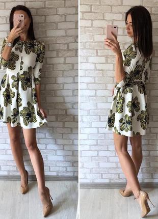 Неопрен платье в цветы