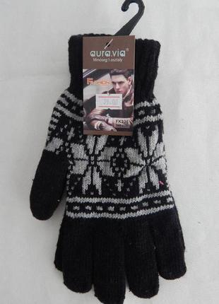 Перчатки вязаные черные со снежинками aura.via