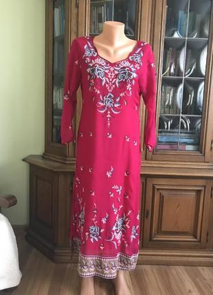Восточное платье - туника настоящий шелк , ручная вышивка