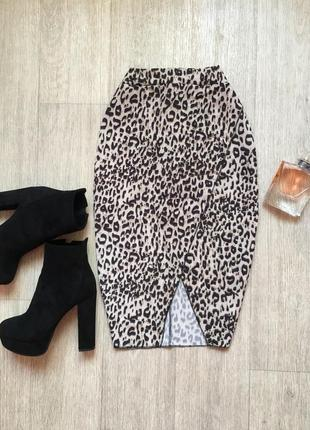 Леопардовая юбка на запах