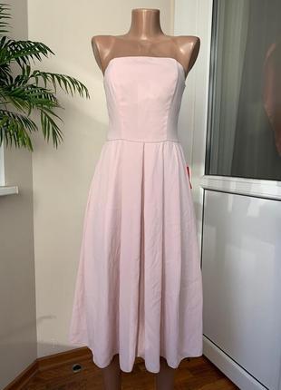Пудровое нарядное миди платье бюстье