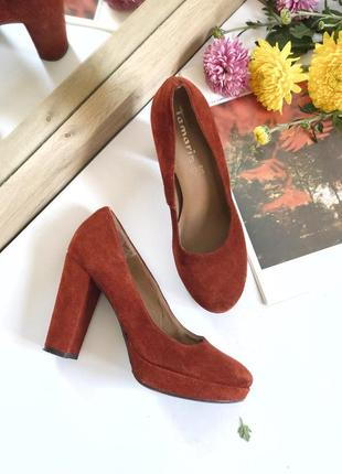 Замшевые туфли на каблуку tamaris, размер 37