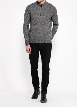 Серый теплый свитер джемпер с воротом из шерсти италия размер м