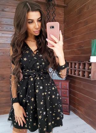 Праздничное платье из сетки -добби в принт звезды