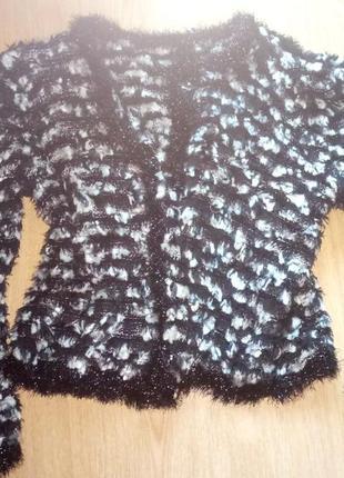 Шикарная нарядная кофта кардиган травка пушистая