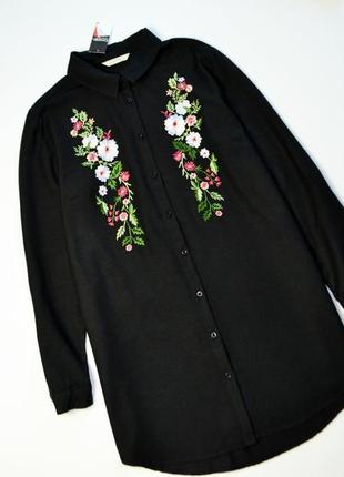 Стильная удлиненная рубашка с цветочным узором вышивка с длинным рукавом
