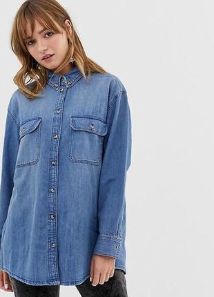 Джинсовая рубашка оверсайз monki,размер xs