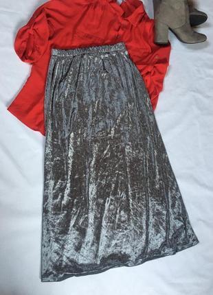 Мега крутая 🔥🔥бархатная юбка макси велюр с бархата франция
