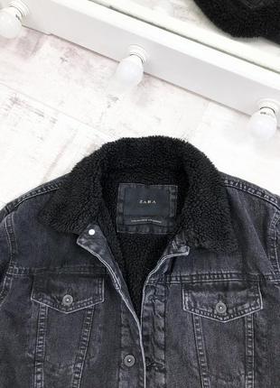Джинсовая куртка утеплённая шерпа zara джинсовка