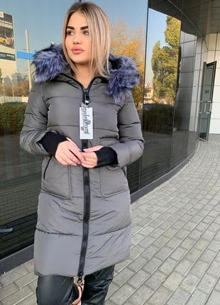 Удлиненная куртка зима с мехом