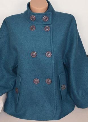 Темно-бирюзовое шерстяное демисезонное пальто полупальто с карманами monsoon литва
